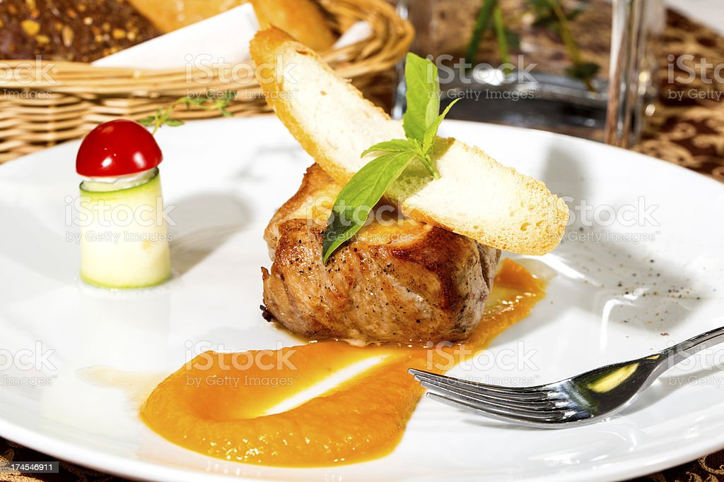 baked meat with sauce royalty-free stock photo