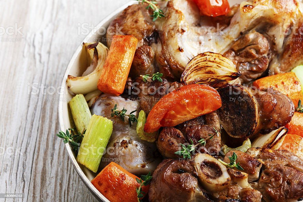 baked meat with vegetables stock photo
