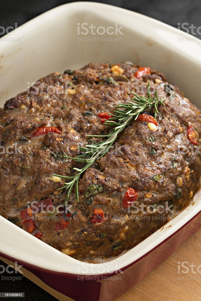 Baked Mediterranean Meatloaf stock photo