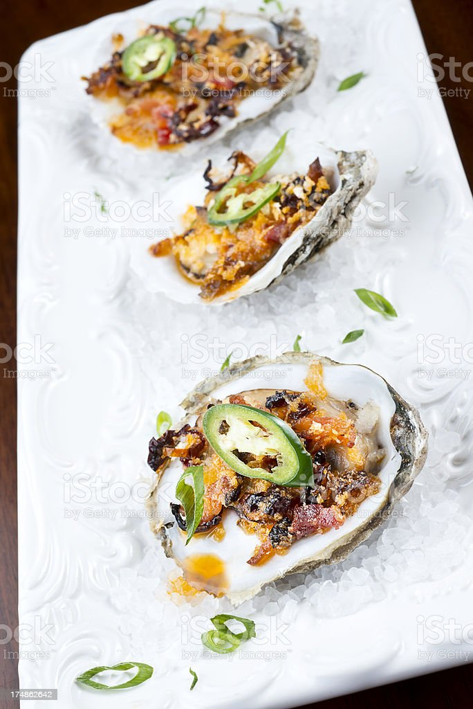 Baked Oysters royalty-free stock photo
