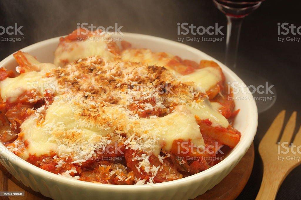 Baked Pasta in Tomato Sauce, Gratin stock photo