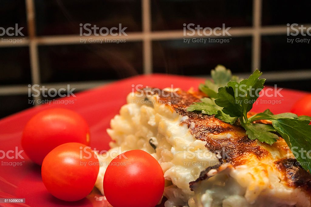 Baked pasta portion in red plate macro stock photo