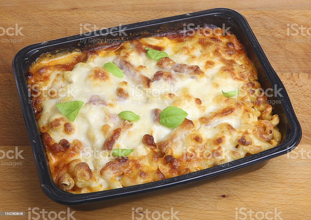 Baked Pasta Ready Meal stock photo