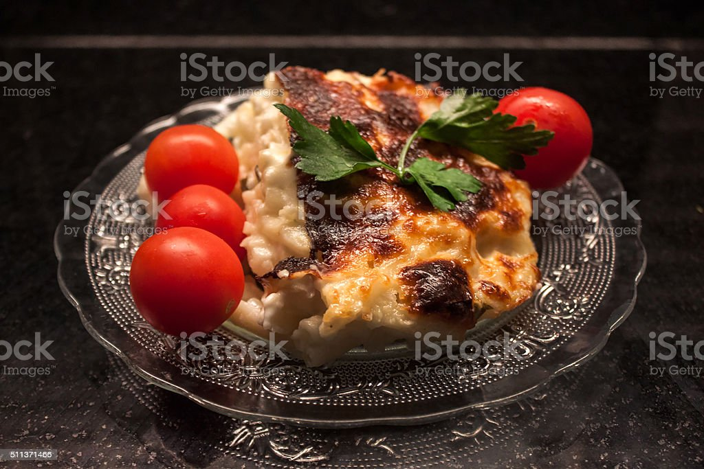 Baked pasta ready to eat stock photo