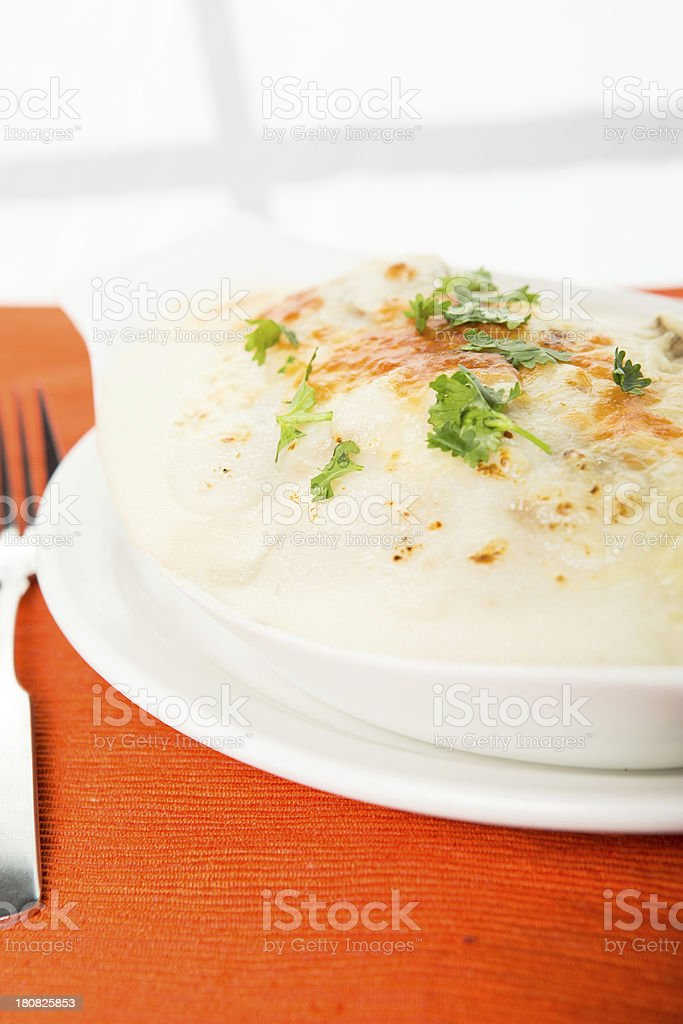 Baked pasta with alfredo sauce royalty-free stock photo