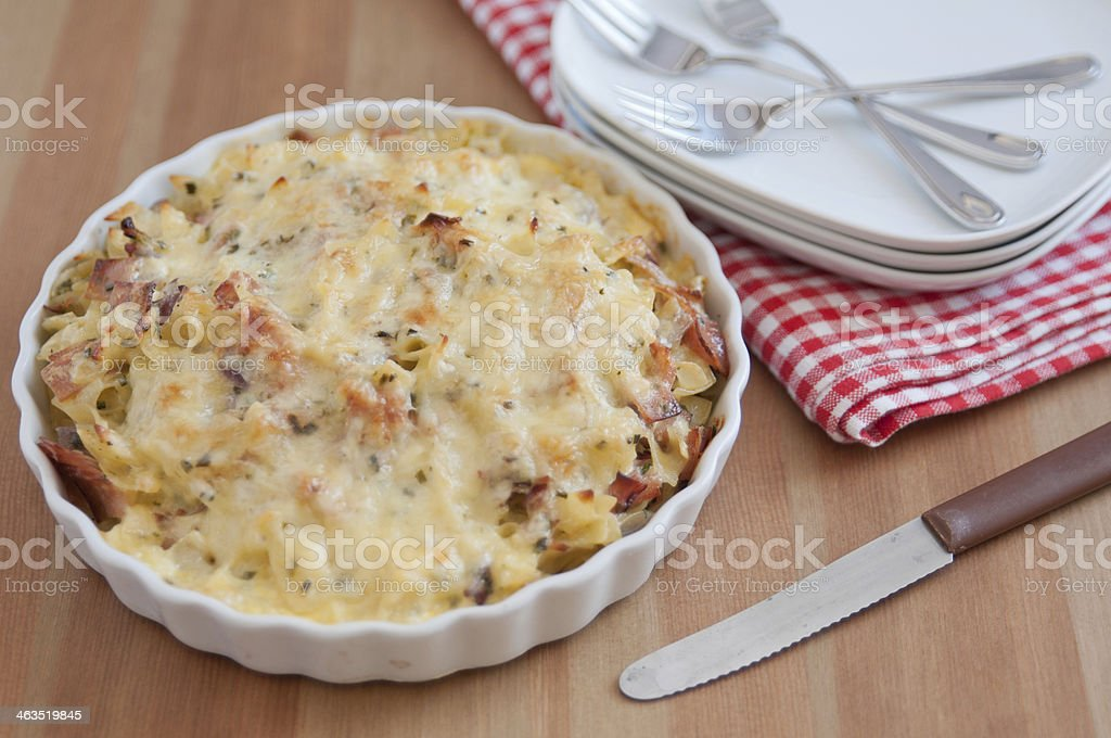 Baked Pasta with bacon and cheese stock photo