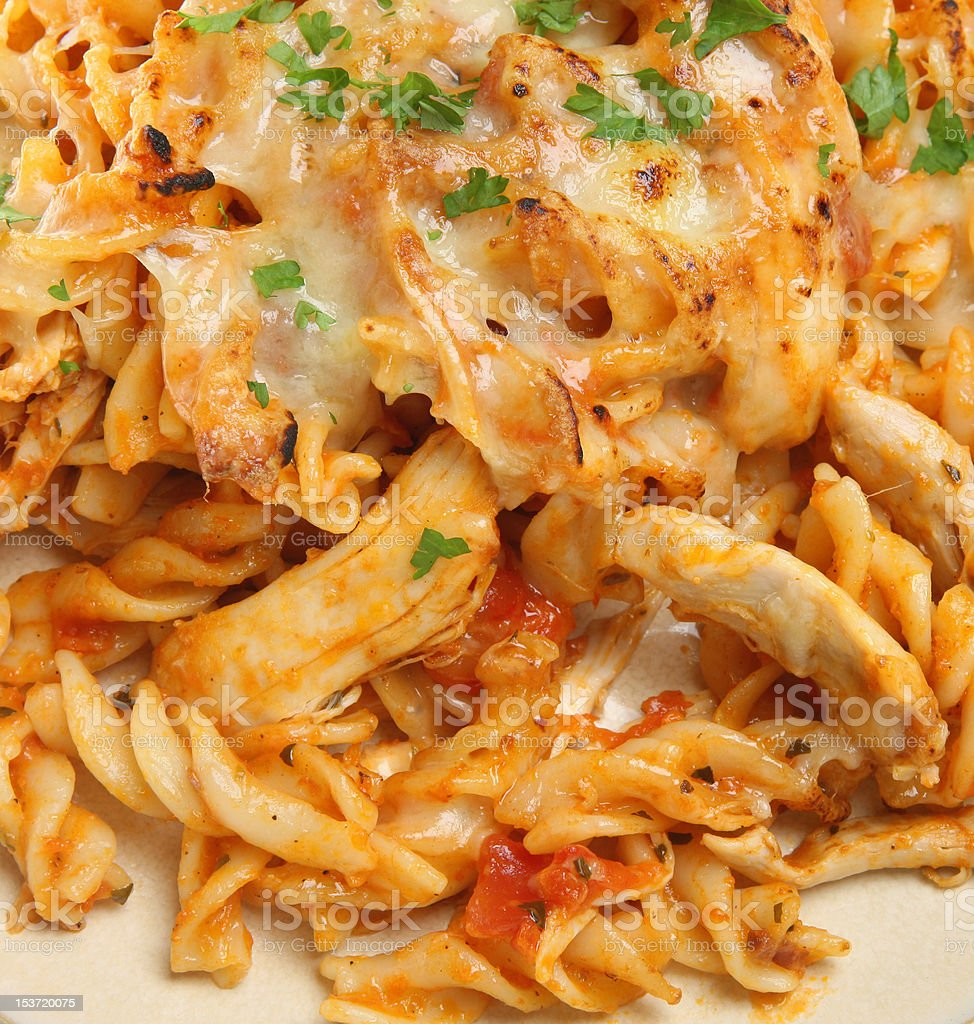 Baked Pasta with Chicken & Cheese stock photo