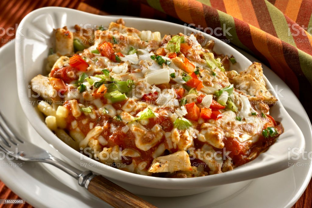 Baked Pasta with Chicken stock photo