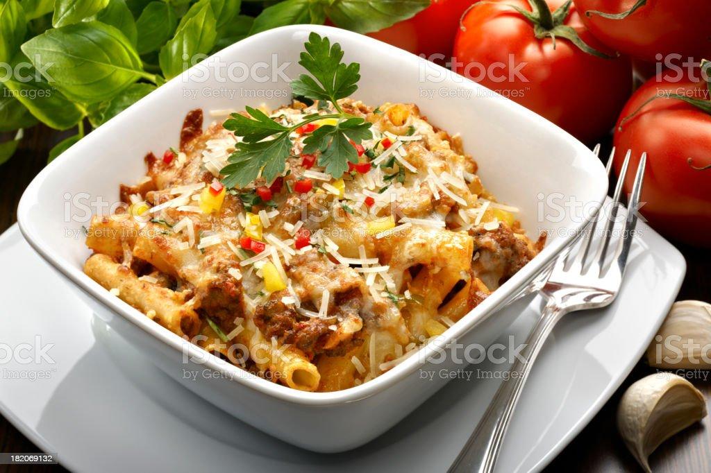 Baked Pasta with Marinara Sauce stock photo