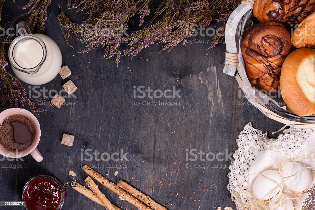 Baked pastries with cocoa drink stock photo