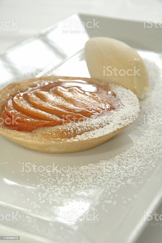 baked peach tart stock photo
