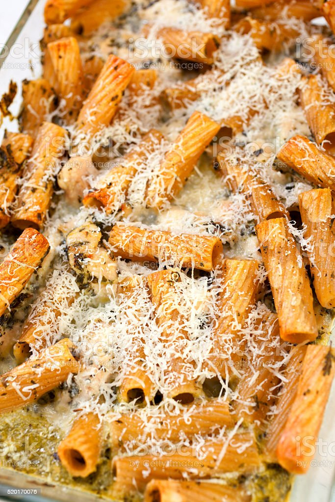 Baked Penne pasta stock photo