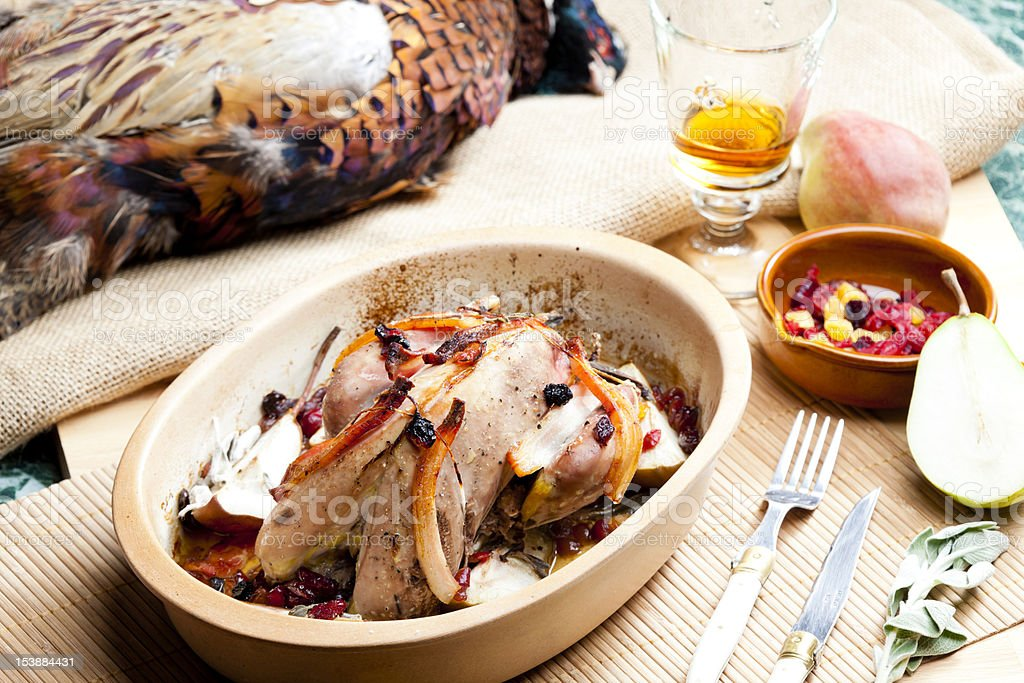 Baked pheasant hot and ready to eat royalty-free stock photo