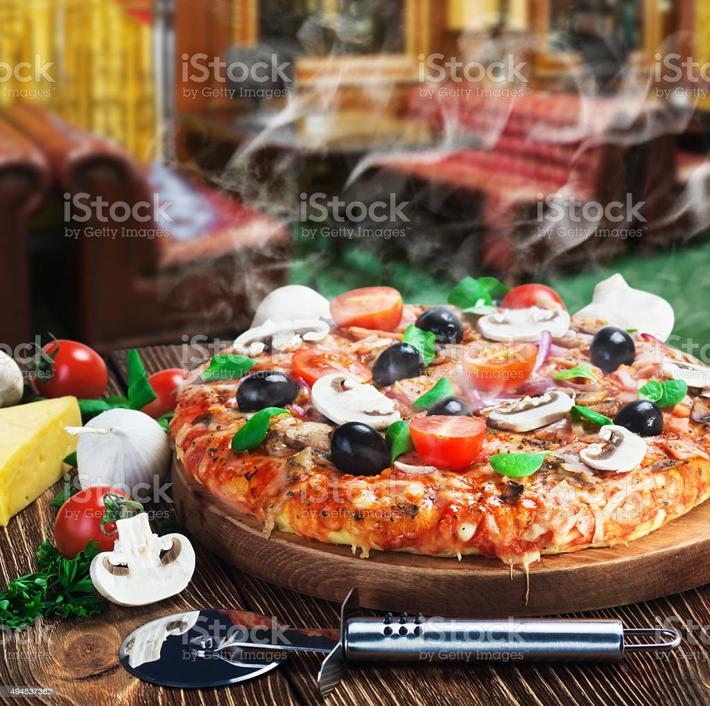 baked pizza stock photo