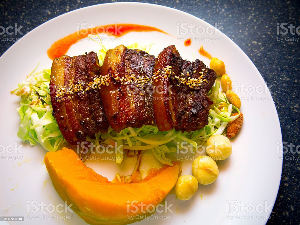Baked pork belly stock photo