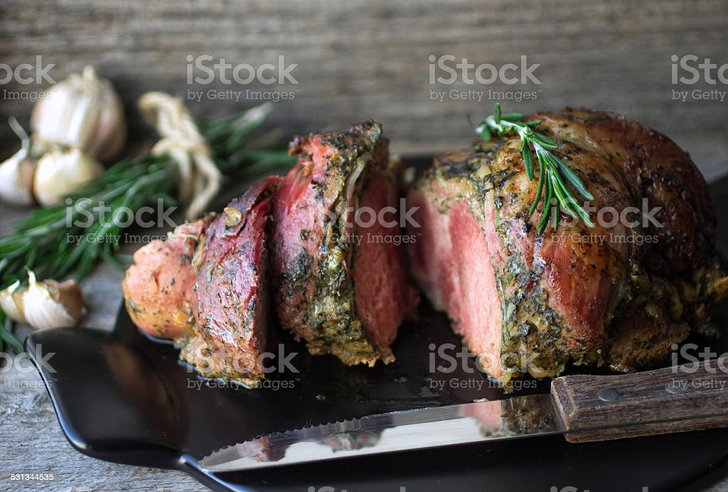 baked pork stock photo