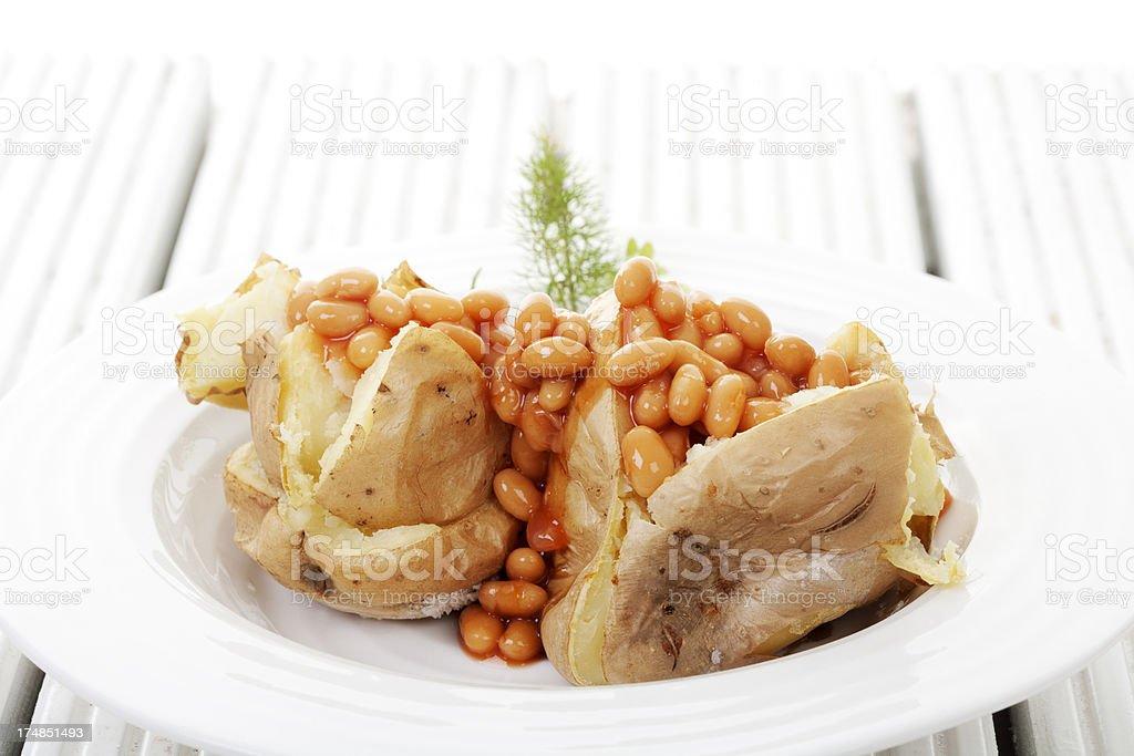 baked potato and beans royalty-free stock photo