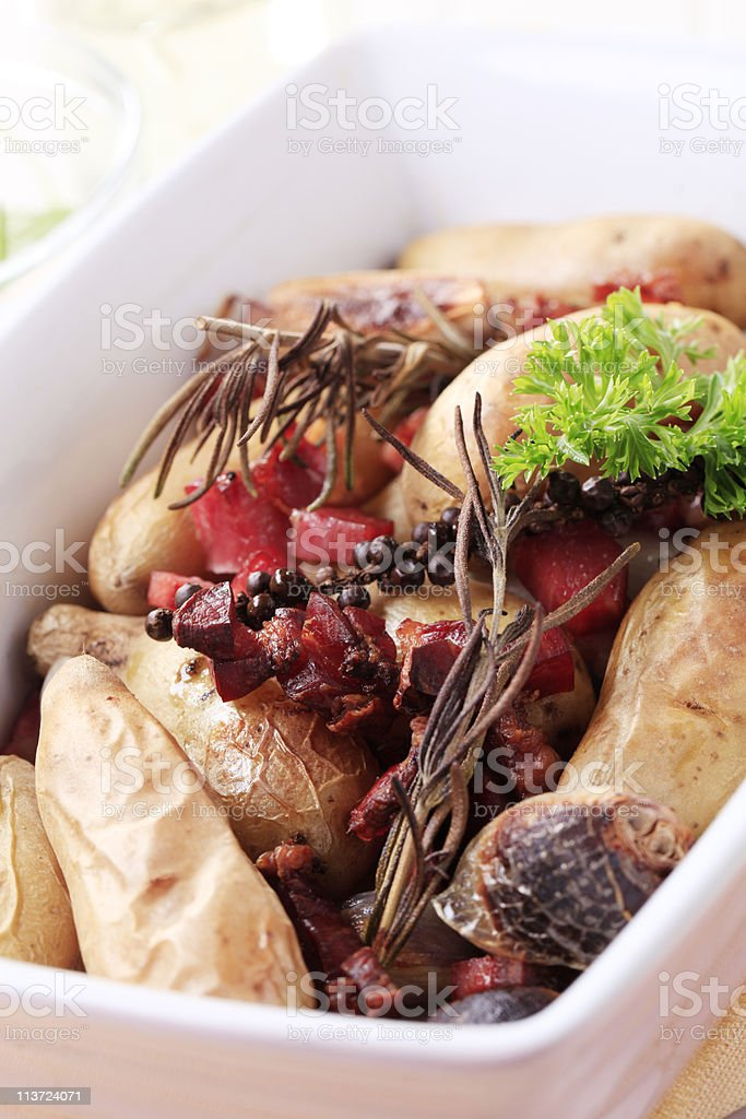 Baked potato dish stock photo