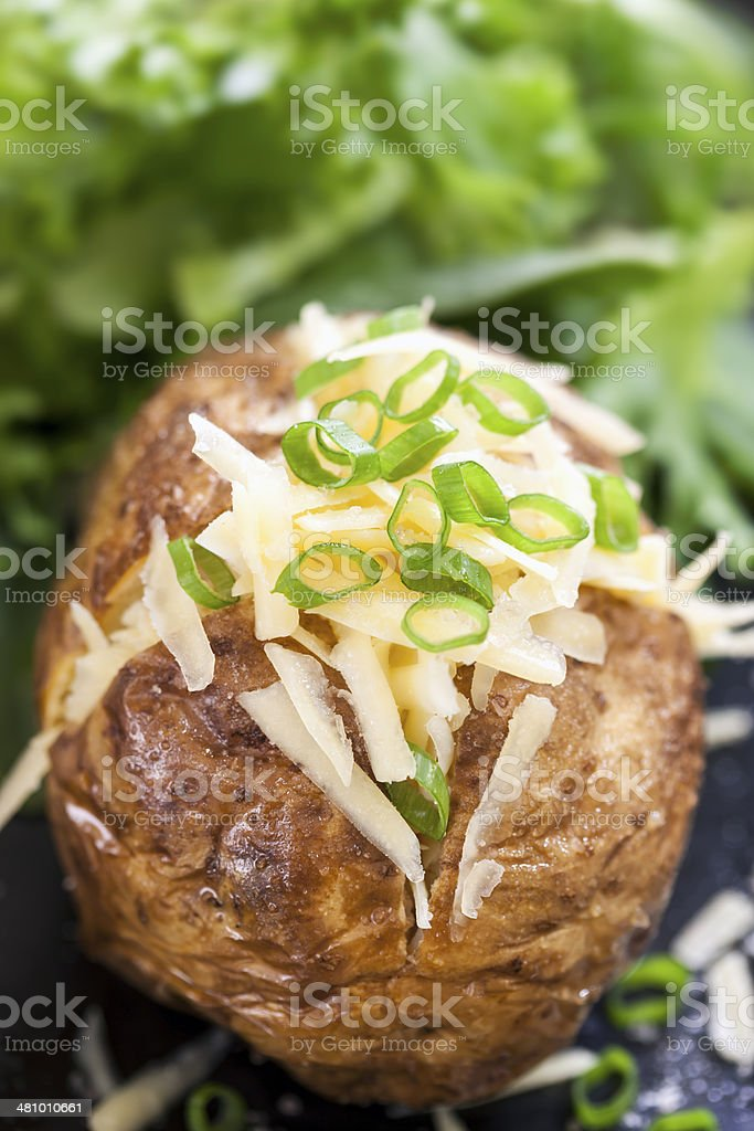 Baked Potato Stuffed with Cheese and Onions. stock photo