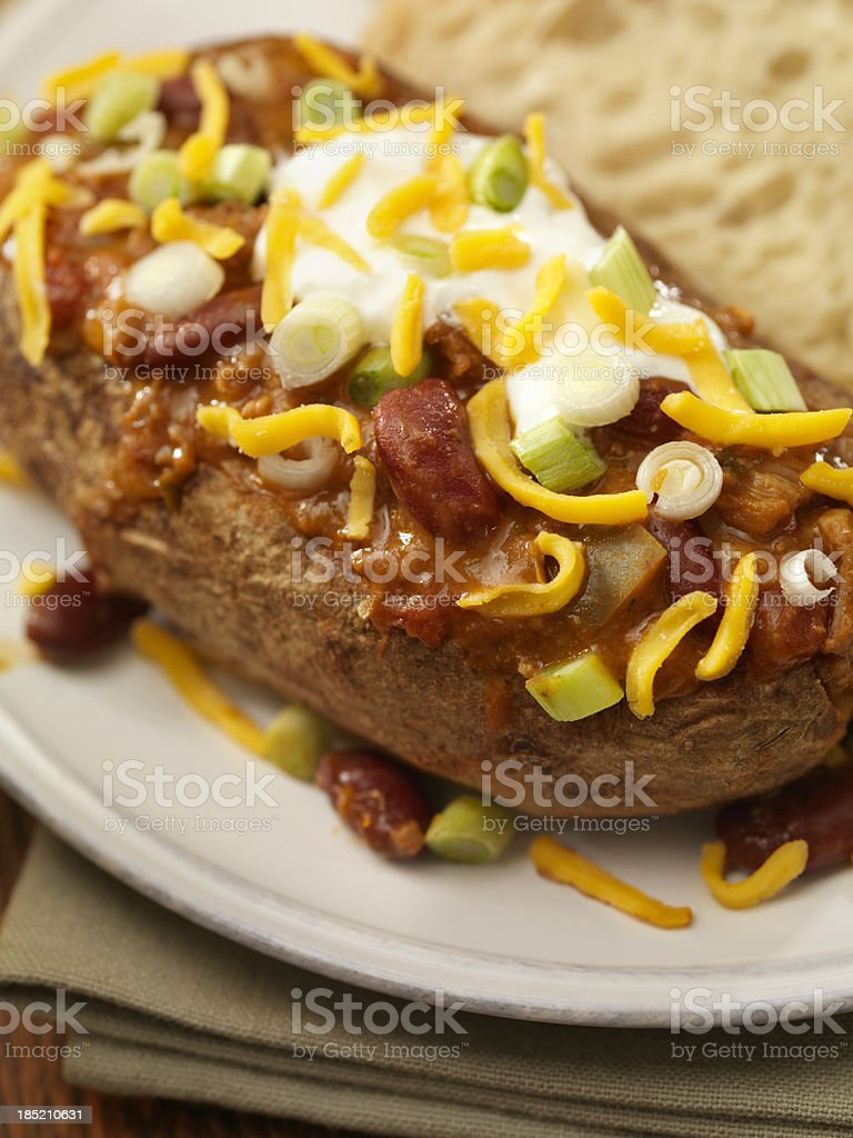 Baked Potato Topped with Chili royalty-free stock photo