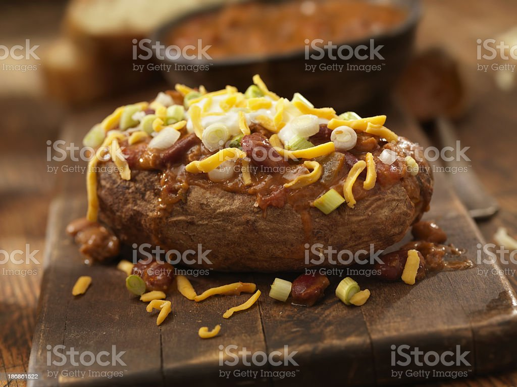 Baked Potato Topped with Chili stock photo