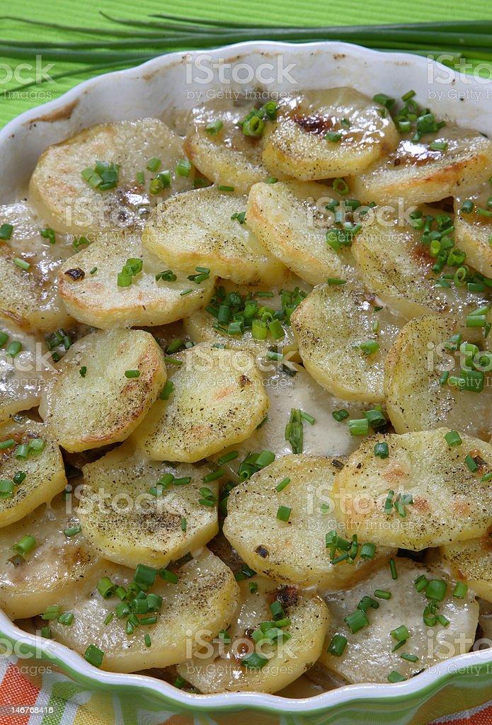 Baked potato with mushrooms royalty-free stock photo