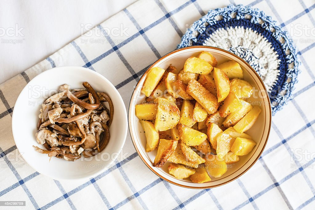 Baked Potatoes and Mushrooms royalty-free stock photo