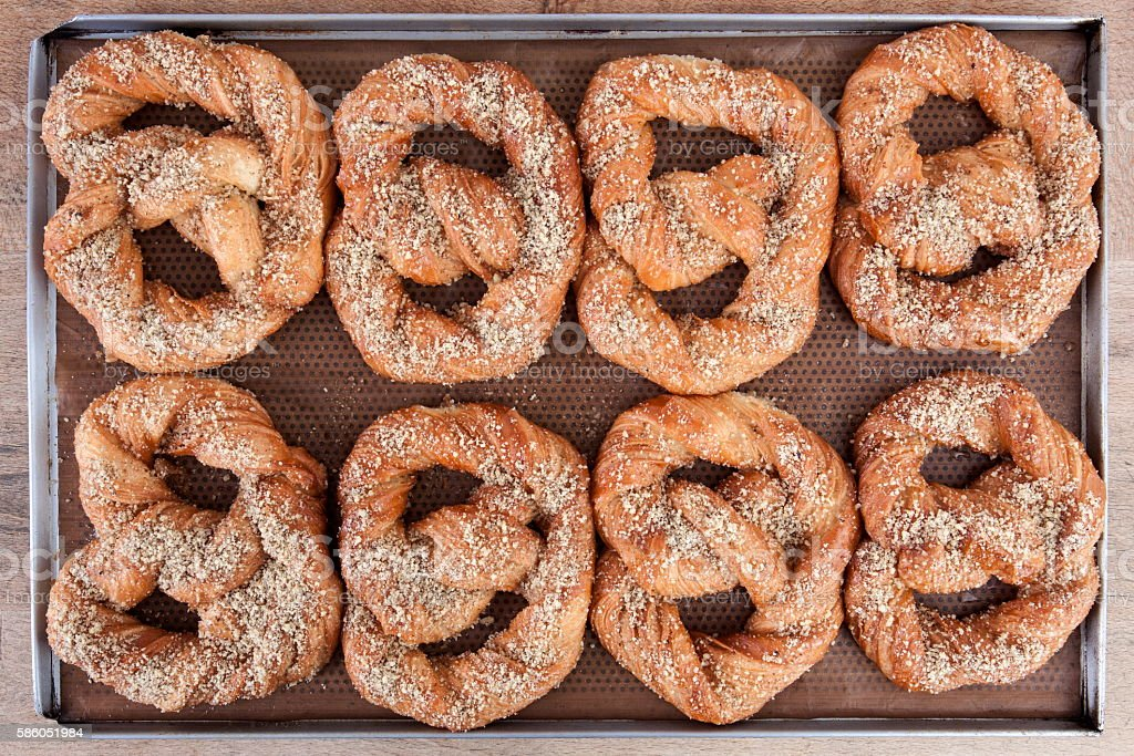 Baked pretzel on two lines stock photo