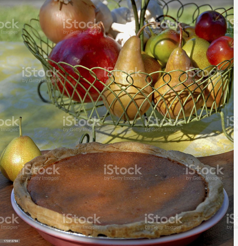 Baked Pumpkin Pie for Thanksgiving Dinner royalty-free stock photo