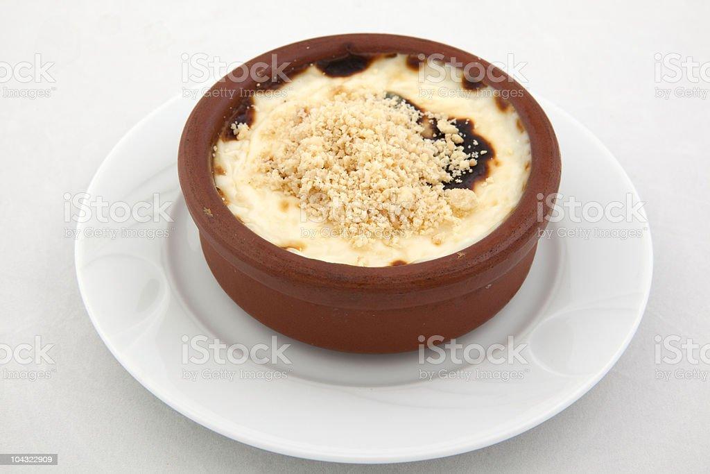 Baked Rice Pudding on white isloated background stock photo