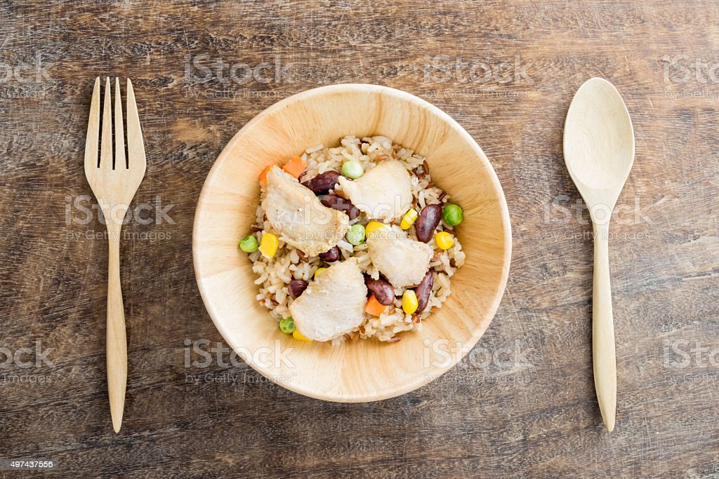 Baked Rice with Cereal and Chicken stock photo