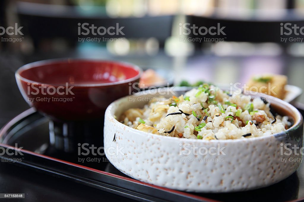 baked rice with scallop japanese food stock photo