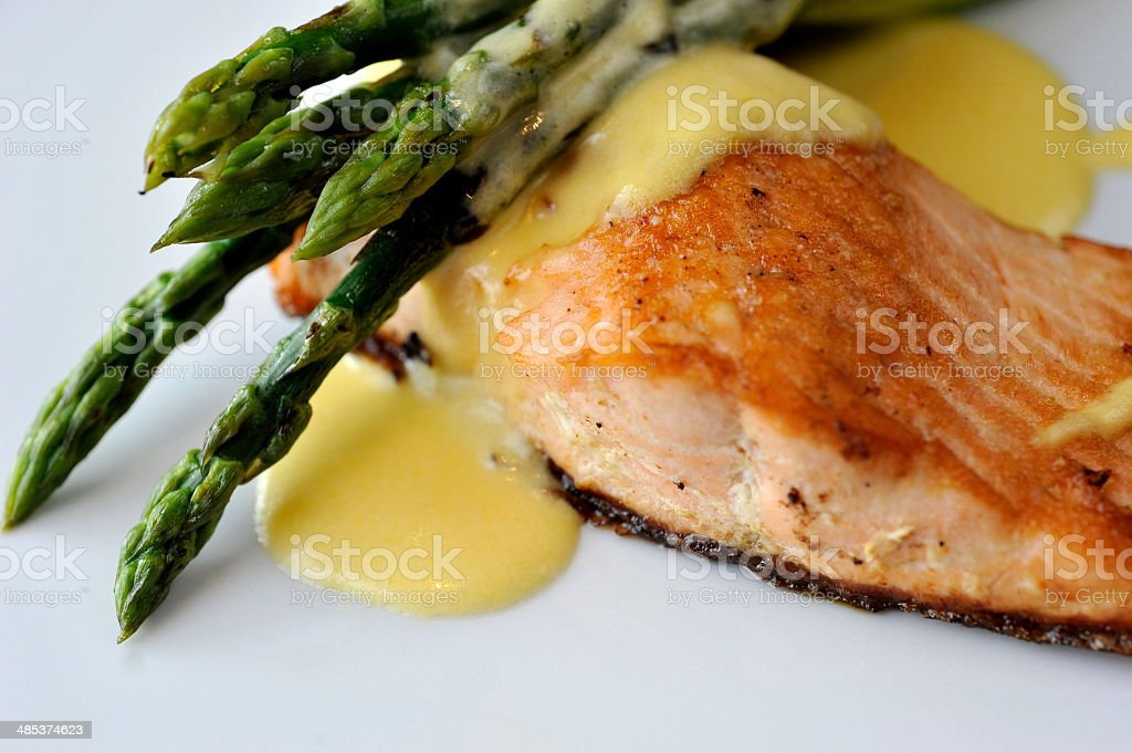 Baked salmon and asparagus royalty-free stock photo