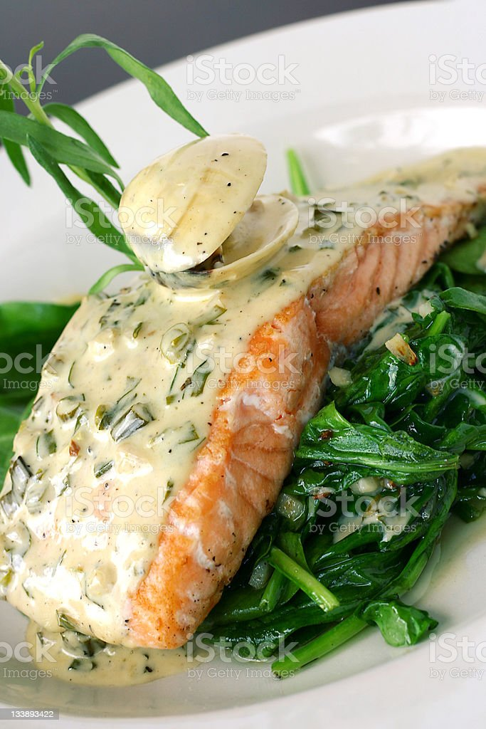 baked salmon and clam royalty-free stock photo