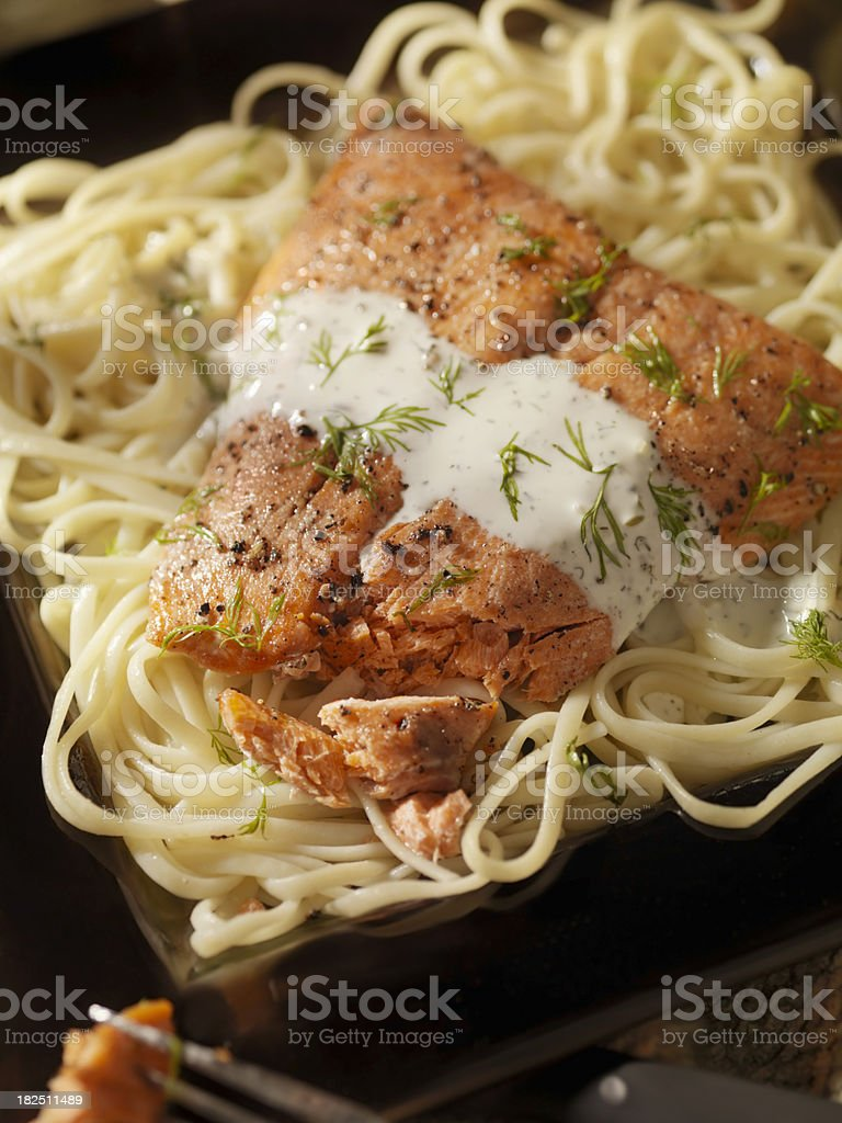 Baked Salmon Fillet on Linguine royalty-free stock photo