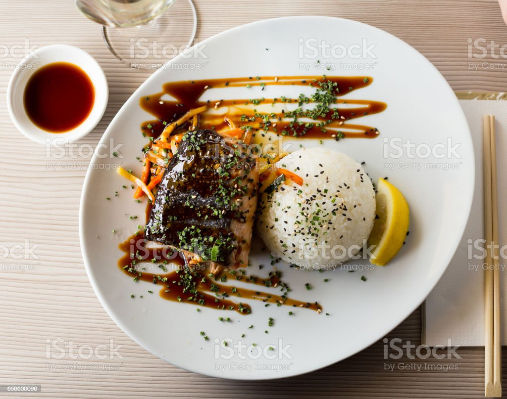 baked salmon in japanise style stock photo