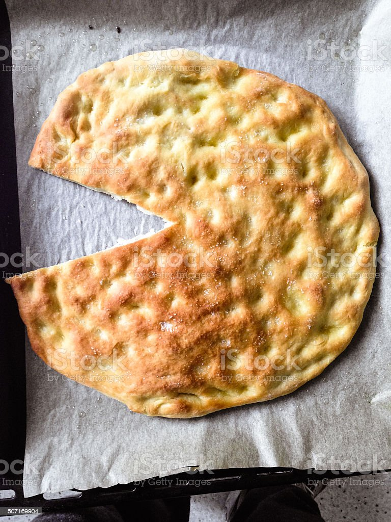 baked salt bread stock photo