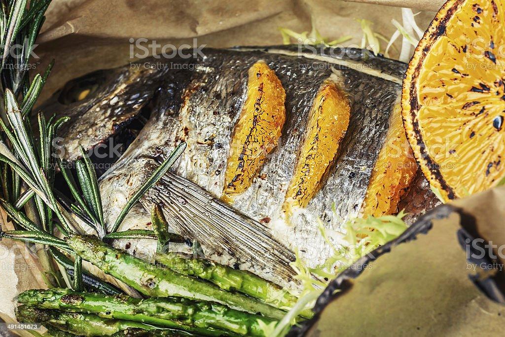Baked seabass royalty-free stock photo