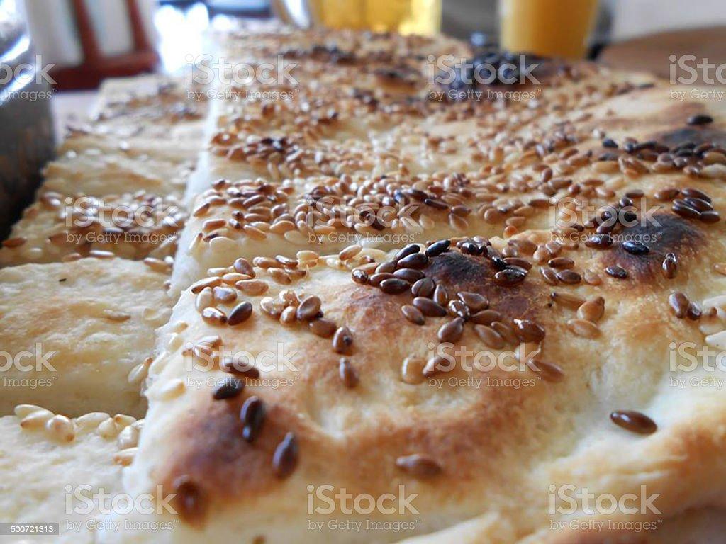 baked sesame bread stock photo