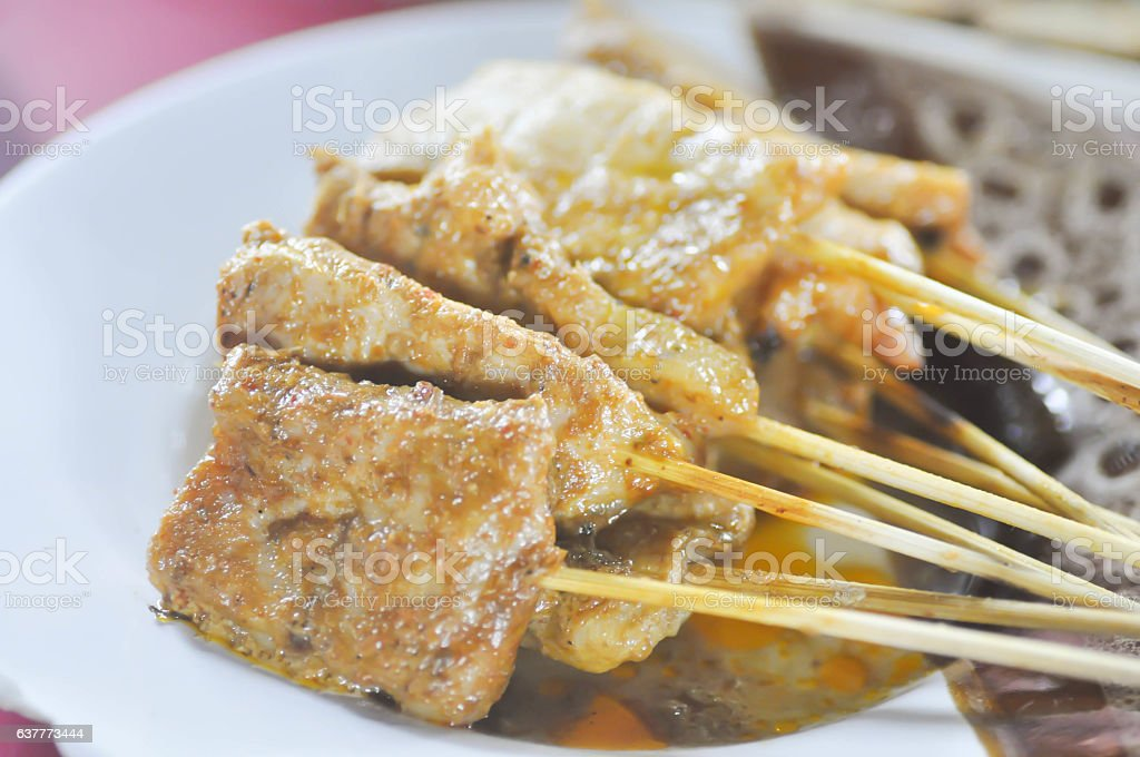 baked stringed meat, beef satay (indonesia food) stock photo