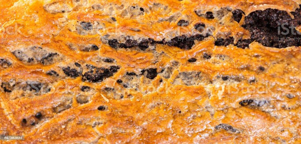 baked strudel texture closeup stock photo
