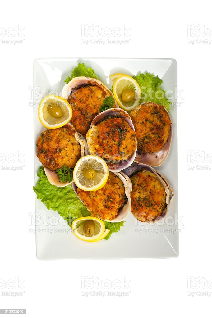 Baked Stuffed Clams stock photo