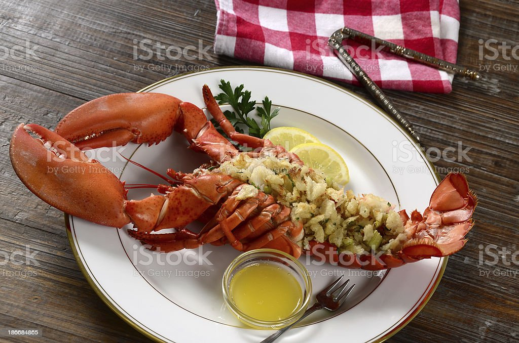 Baked Stuffed Lobster stock photo