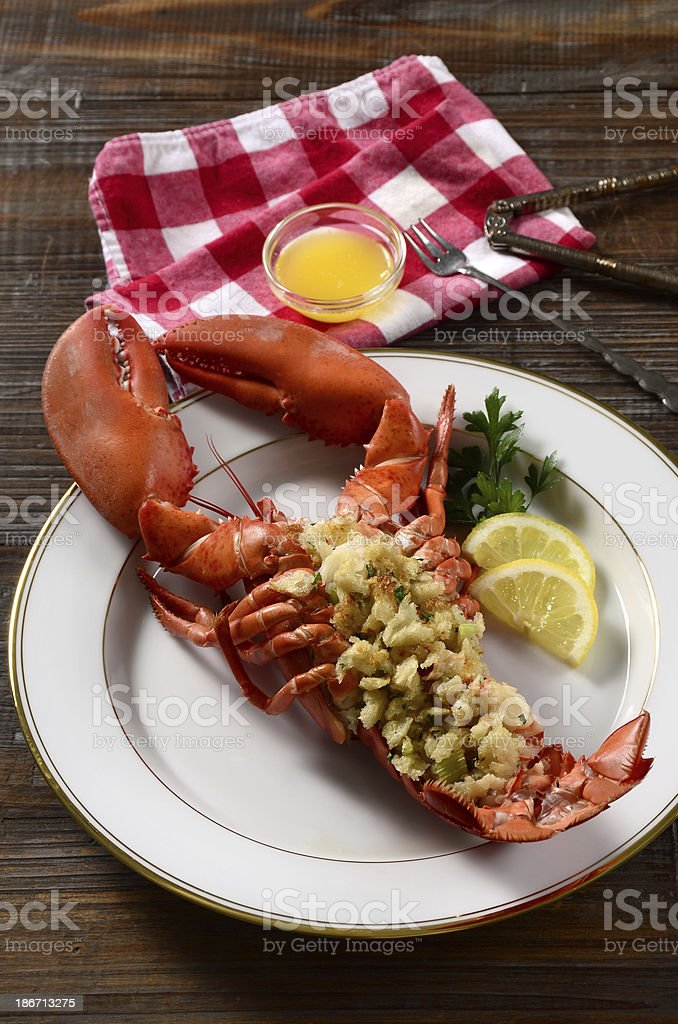 Baked Stuffed Lobster royalty-free stock photo