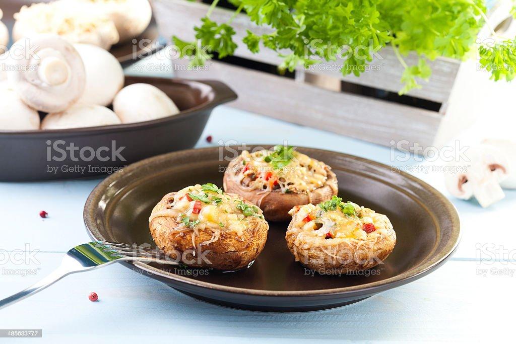 Baked stuffed mushrooms stock photo