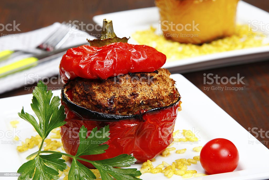Baked stuffed pepper stock photo