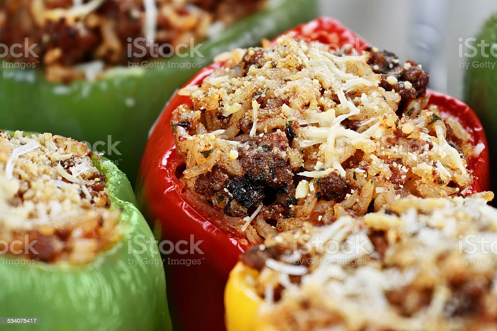 Baked Stuffed Peppers stock photo