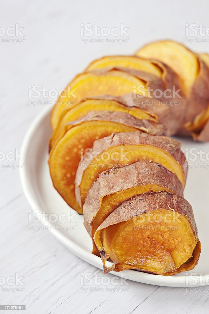 Baked sweet potato stock photo