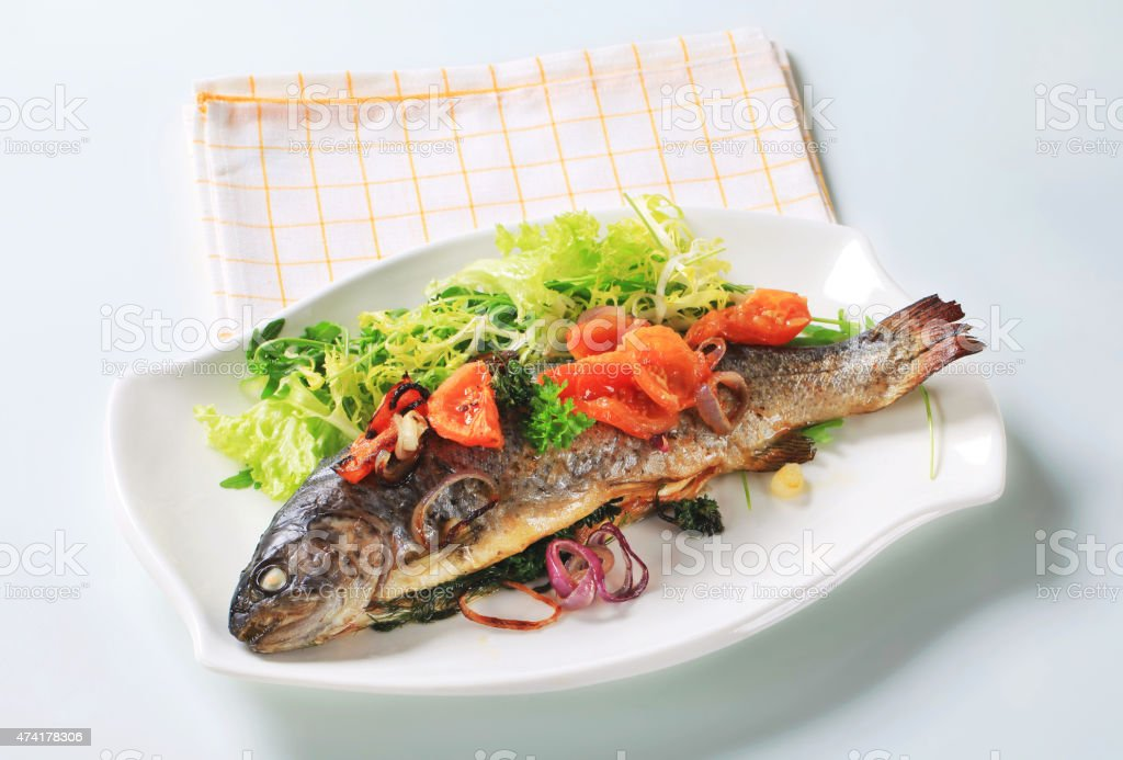 Baked trout with tomatoes and green salad stock photo