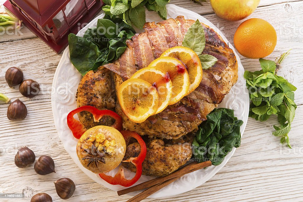 baked turkey with chestnut filling and orange royalty-free stock photo